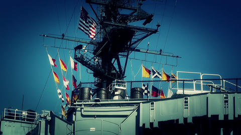 San Diego US Naval Base USS Midway Carrier 24 stylized Stock Video Footage