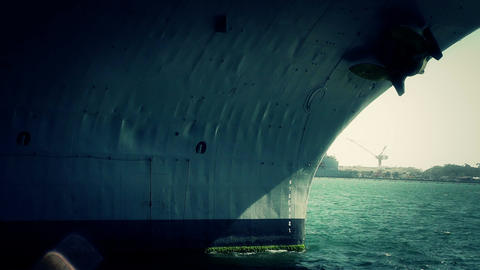 San Diego US Naval Base USS Midway Carrier 26 stylized front Stock Video Footage