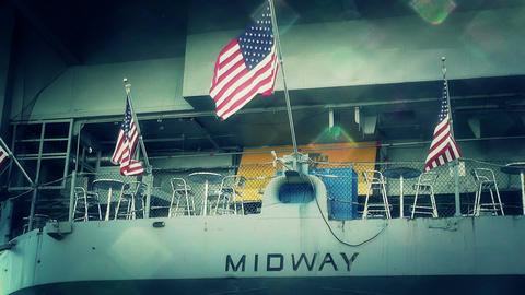 San Diego US Naval Base USS Midway Carrier 30 stylized Stock Video Footage