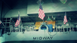 San Diego US Naval Base USS Midway Carrier 30 stylized Footage