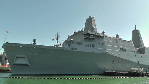 San Diego US Naval Base USS San Diego LPD22 battleship 04 Stock Video Footage