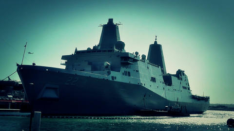 San Diego US Naval Base USS San Diego LPD22 battleship 08... Stock Video Footage
