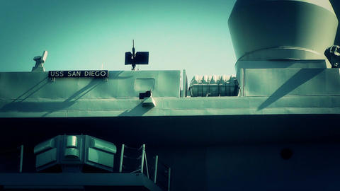 San Diego US Naval Base USS San Diego LPD22 battleship 12... Stock Video Footage