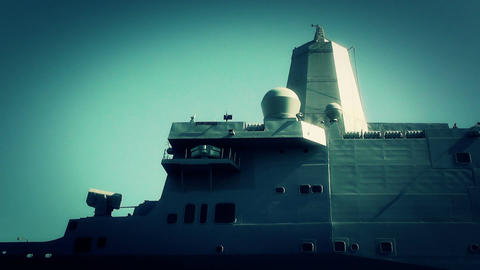 San Diego US Naval Base USS San Diego LPD22 battleship 12 zoom out in stylize Footage