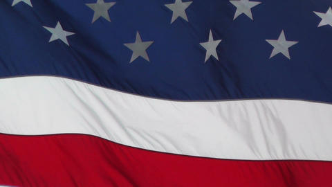 USA flag in strong wind 60 fps native slowmotion 03 Stock Video Footage