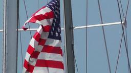 USA flag on sailboat Stock Video Footage