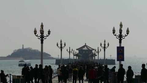 Many people at Qingdao pier of Qingdao Seaside Footage