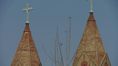 Panoramic of Qingdao Catholic Church & tree Stock Video Footage
