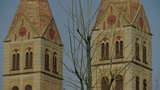 Panoramic of Qingdao Catholic Church & tree Footage