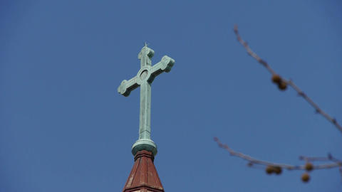 Qingdao Catholic Church's Cross & tree Stock Video Footage