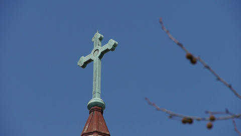 Qingdao Catholic Church's Cross & tree Stock Video Footage