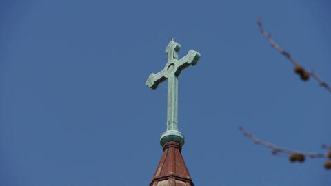 Qingdao Catholic Church's Cross and building scenery Stock Video Footage