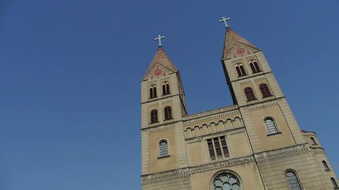 Panoramic of Qingdao Catholic Church Footage