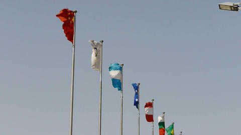 Many national flags fluttering in the wind Stock Video Footage