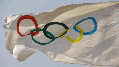 Olympic-Games flag flutters in wind Stock Video Footage