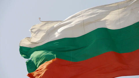 Bulgaria flag flutters in wind Stock Video Footage