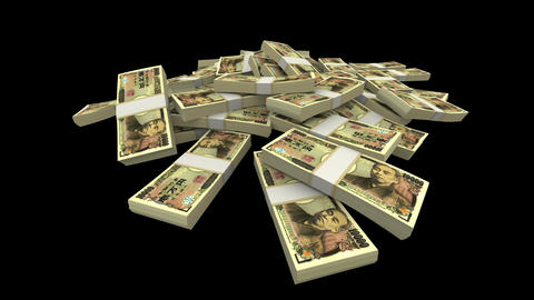 Falling 10000 Japanese Yen (JPY) Packs (with Matte) Stock Video Footage