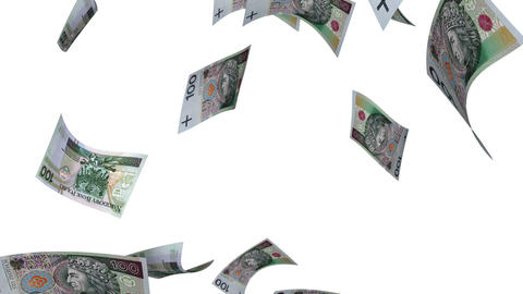 Falling Polish Zlotys (Loop on White) Stock Video Footage