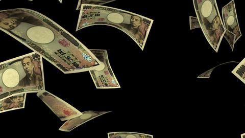 Falling Yen (Loop + Matte) Stock Video Footage