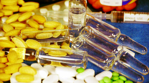 Many tablets,injection,syringe & capsules Stock Video Footage
