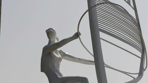 Windsurfing sculpture statue Stock Video Footage
