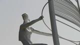 Windsurfing sculpture statue Footage