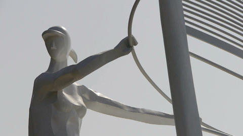 Windsurfing sculpture statue Footage