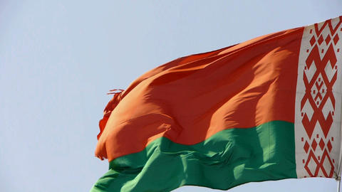 Belarus flag flutters in wind Stock Video Footage