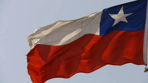 Chile flag is fluttering in wind Stock Video Footage