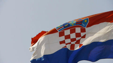 Croatia flag is fluttering in wind Stock Video Footage