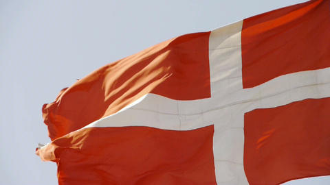 Denmark flag is fluttering in wind Stock Video Footage