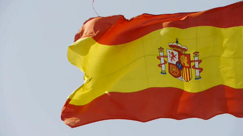 Spain flag is fluttering in wind Stock Video Footage