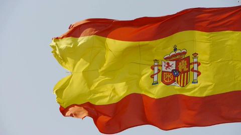 Spain flag is fluttering in wind Stock Video Footage