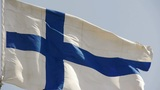 Finland Flag Is Fluttering In Wind stock footage
