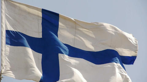 Finland flag is fluttering in wind Stock Video Footage
