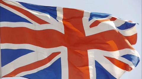 Britain flag is fluttering in wind Stock Video Footage
