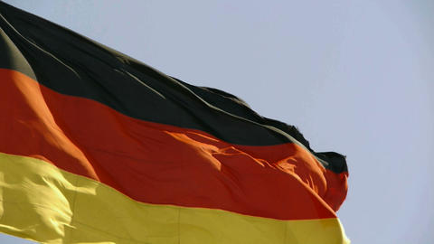 German flag is fluttering in wind Stock Video Footage