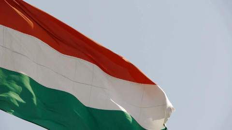Hungarian flag is fluttering in wind Stock Video Footage