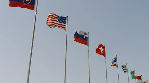 Many national flags fluttering in wind.American-flag Stock Video Footage