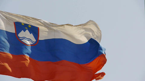 Slovenian flag is fluttering in wind Stock Video Footage
