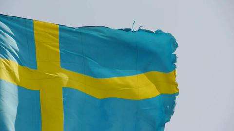 Sweden flag is fluttering in wind Stock Video Footage