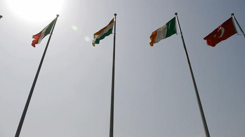 Many national flags fluttering in wind Stock Video Footage