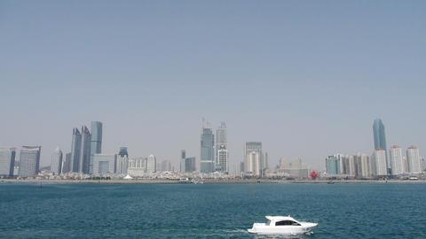 Seaside city,skyscrapers,luxury yacht,vessel Stock Video Footage