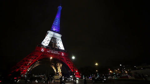 A View on Eiffel Tower in Paris by Night Footage