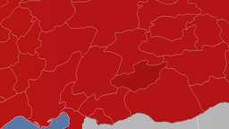 Adiyaman - Turkey region extruded. Solids Animation