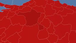 Ankara - Turkey region extruded. Solids Animation