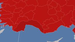 Antalya - Turkey region extruded. Solids Animation