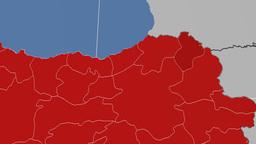 Ardahan - Turkey region extruded. Solids Animation