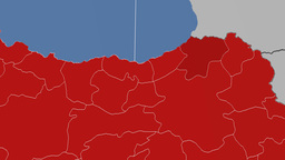 Artvin - Turkey region extruded. Solids Animation