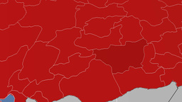 Diyarbakir - Turkey region extruded. Solids Animation